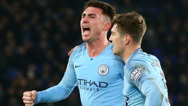 Aymeric Laporte celebrates scoring for Manchester City against Everton