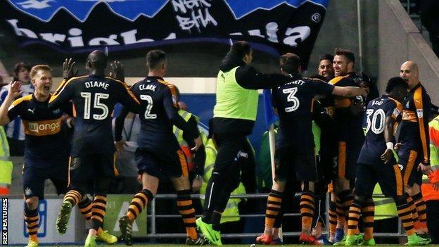 Newcastle players celebrate
