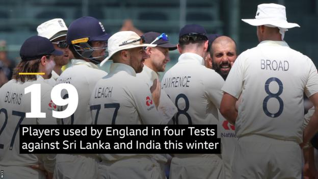 19 players used by England in four Tests against Sri Lanka and India this winter