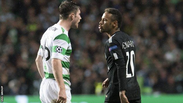 Neymar blows Anthony Ralston a kiss at Celtic Park