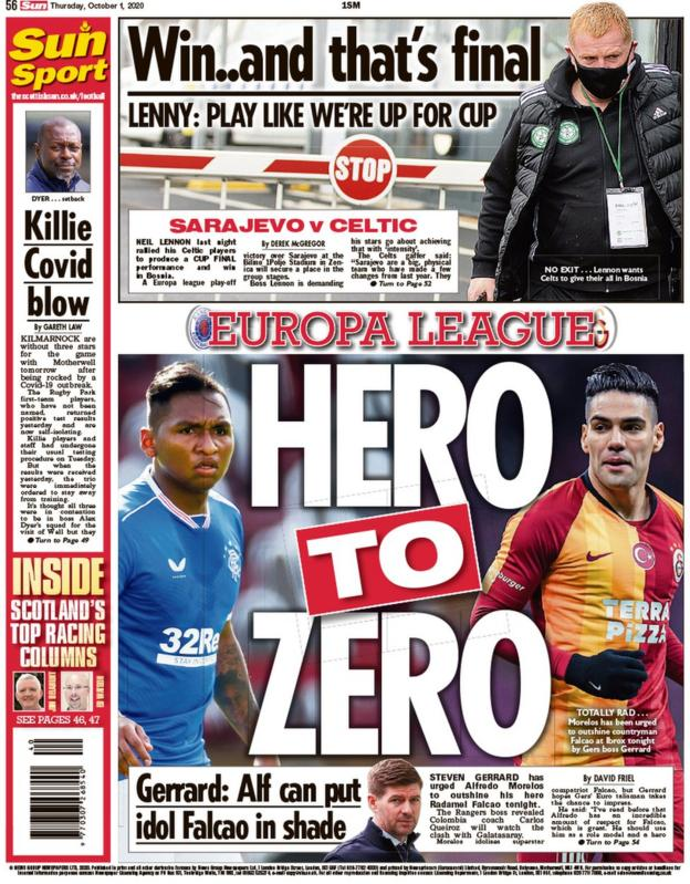 The back page of the Scottish Sun on 011020