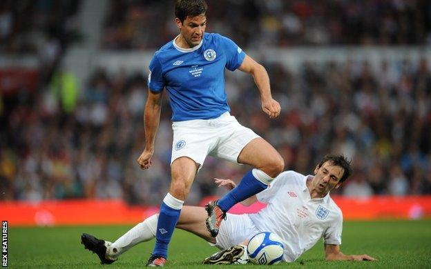 Gethin Jones and Ralph Little at Soccer Aid 2010