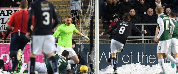 Blair Alston scores for Falkirk against Hibernain