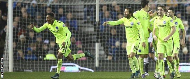 Rajiv van La Parra celebrates his goal against Derby