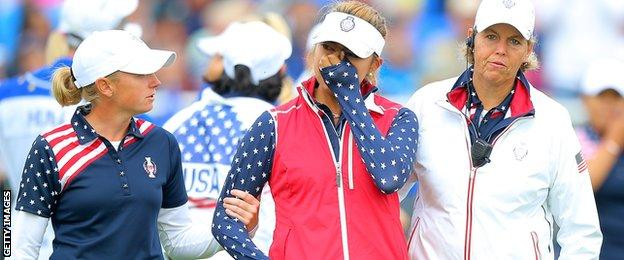 USA's Alison Lee in tears during the Solheim Cup