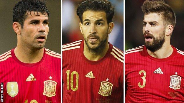 Diego Costa, Cesc Fabregas and Gerard Pique