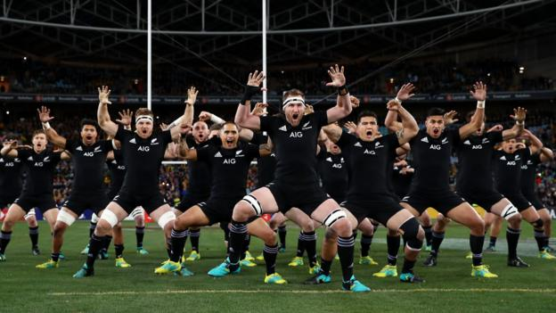 Sydney, Australia, 18 August: New Zealand perform the haka before their Rugby Championship match against Australia. (Photo by Cameron Spencer/Getty Images)