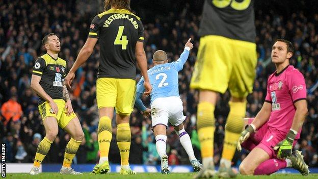 Kyle Walker celebrates scoring against Southampton