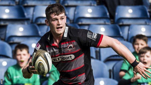 Magnus Bradbury carries the ball for Edinburgh