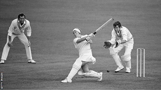 Heyhoe Flint playing cricket