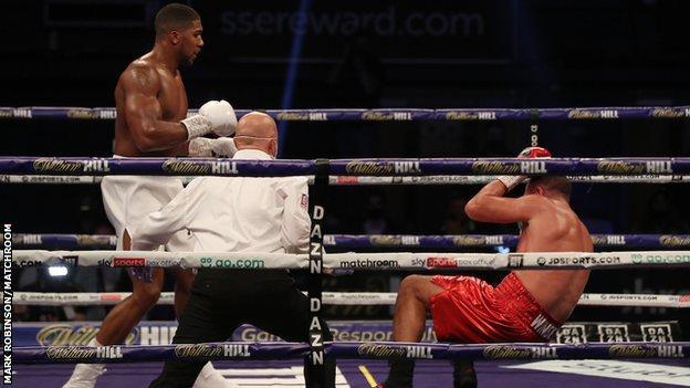 Joshua knocks Pulev down