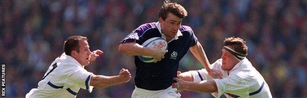 John Leslie attacks for Scotland against France