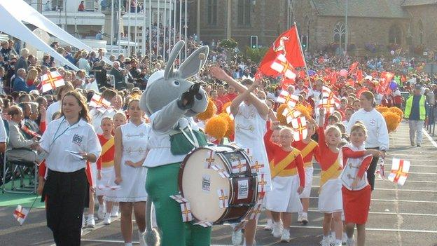 The opening ceremony of the 2003 island Games took place around St Peter Port harbour