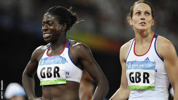 Christine Ohuruogu and relay team-mate Kelly Sotherton