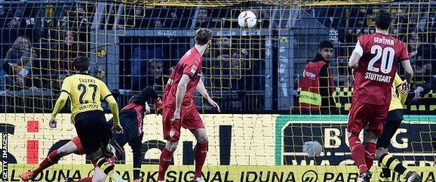 Borussia Dortmund's Gonzalo Castro scores against Stuttgart