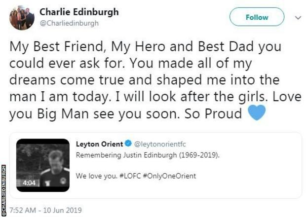 Justin Edinburgh's son Charlie posted a tribute to his late father on Twitter on Monday