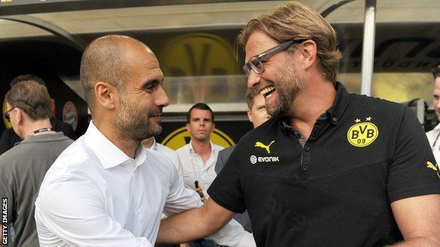 Pep Guardiola and Jurgen Klopp while managing Bayern Munich and Borussia Dortmund respectively