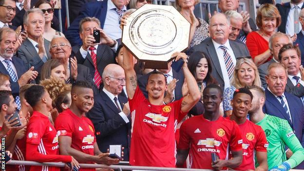 Zlatan Ibrahimovic celebrates Manchester United's Community Shield win at Wembley.