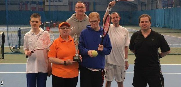 Wendy Glasper (second left) and students at a North East VI Tennis Club session