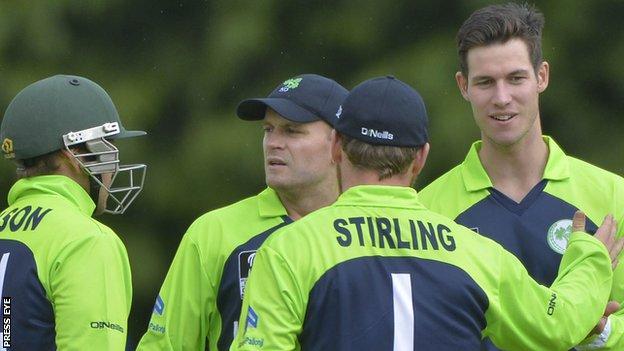 Ireland spinner George Dockrell took three Oman wickets