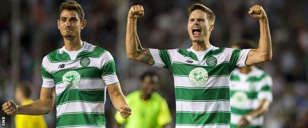 Celtic's Nir Bitton (left) and Mikael Lustig celebrate at full-time