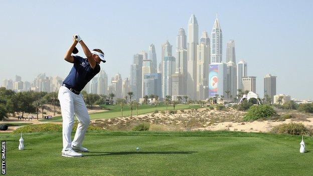 Ian Poulter at the Dubai Desert Classic