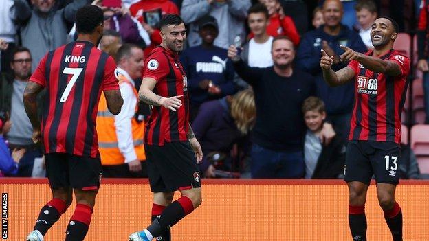 Callum Wilson celebrates scoring against West Ham