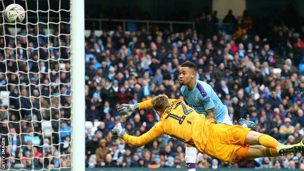 Manchester City's Gabriel Jesus heads home against Fulham in the FA Cup