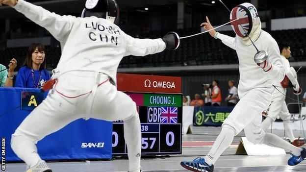 Great Britain's Joe Choong takes on China's Shuai Luo during the men's fencing at the Modern Pentathlon World Cup