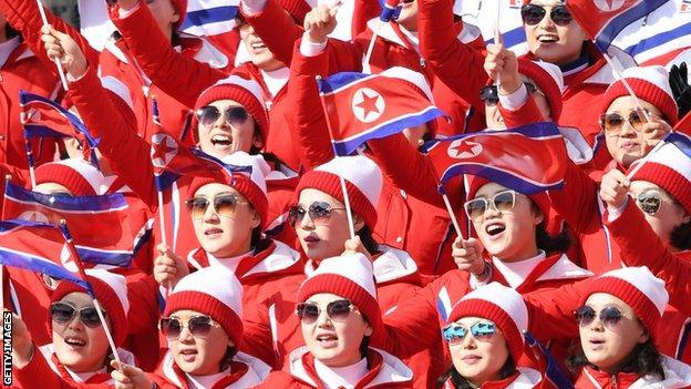 North Korea cheerleaders at the Winter Olympics