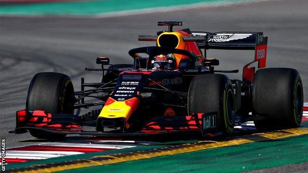 Max Verstappen driving the 2019 Red Bull car