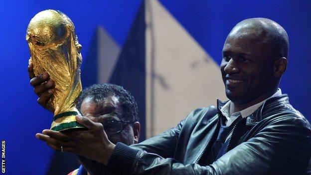Patrick Vieira with the World Cup trophy
