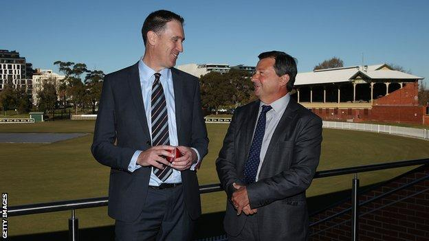 David Peever (right) with former Cricket Australia chief executive James Sutherland, who quit in June