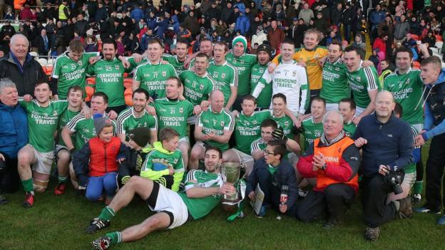 Rockcorry celebrate winning the Ulster Club Junior title with a comfortable win over Derry opponents Faughanvale