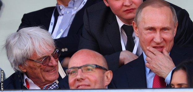 Bernie Ecclestone and Russian president Vladimir Putin