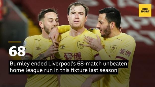 Бернли завершил домашнюю лигу Ливерпуля с 68-матчевой беспроигрышной серией в этом матче прошлого сезона