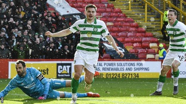 James Forrest celebrates making it 3-0 Celtic