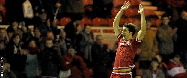George Friend celebrates his goal against Derby