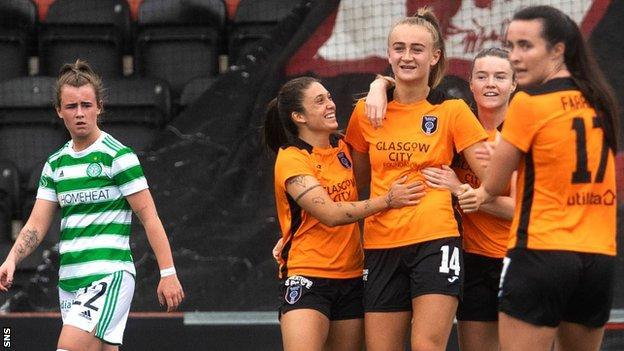 Glasgow City celebrate Lauren Davidson (third right) making it 2-0