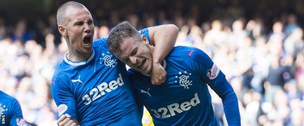 Rangers' Kenny Miller and Andy Halliday celebrate