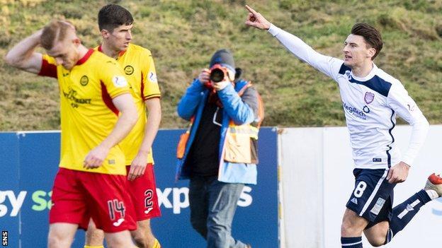 Arbroath's Michael McKenna (right) celebrates scoring to make it 2-1