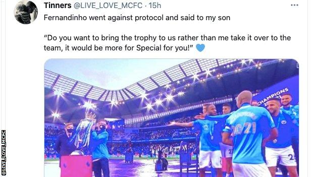 Manchester City celebrate Premier League trophy.