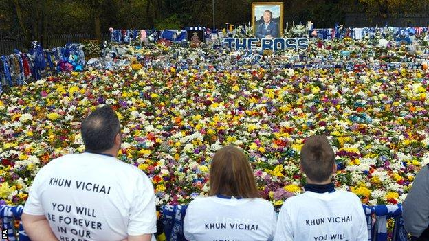 Leicester fans pay their respects