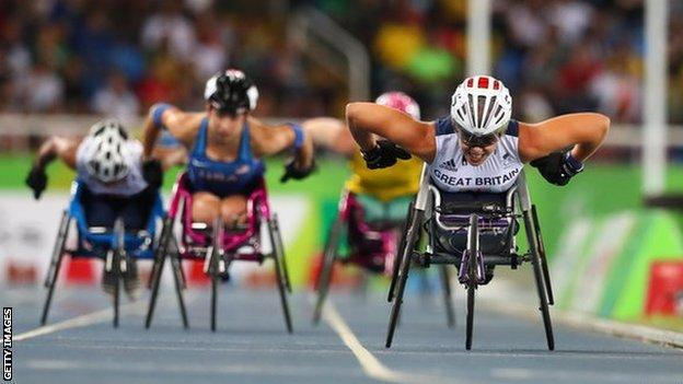 Britain's Hannah Cockroft competes in the women's T34 800m at the 2016 Rio Paralympics