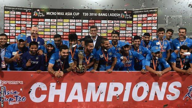 India celebrate with the Asia Cup