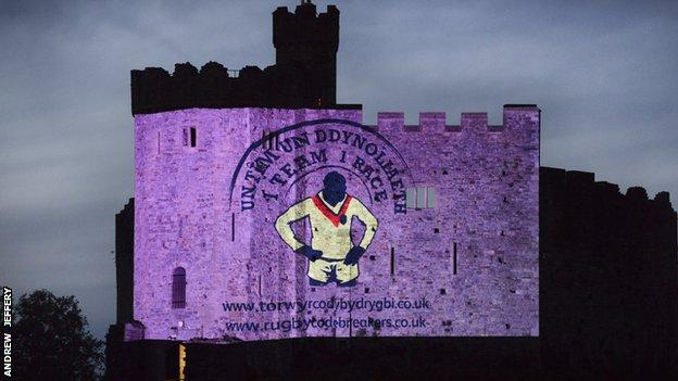 Giant images celebrating the achievements of Welsh rugby league legends have been projected onto the walls of Cardiff Castle