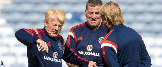 Gordon Strachan and coaches Mark McGhee and Stuart McCall take training at Hampden