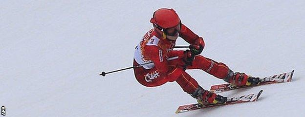 China's Xia Lina competes in the women's slalom at the 2014 Winter Olympics