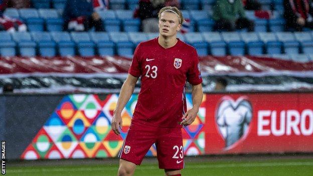 Erling Haaland scores 3 for Norway