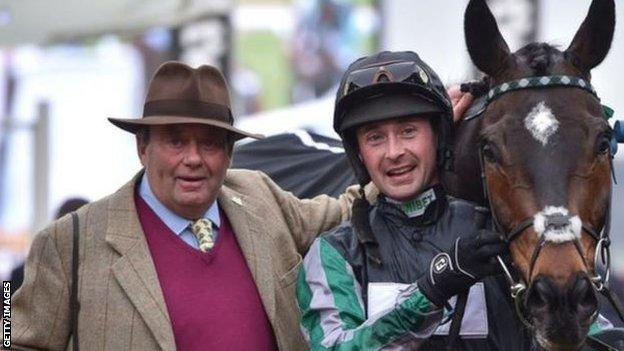 Nicky Henderson with jockey Nico de Boinville and Altior